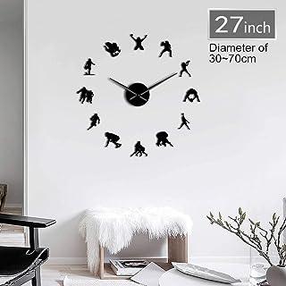 Football Soccer Game Sport DIY Giant Wall Clock Rugby Frameless Big Time Needles User-Defined Clock Goalkeeper Athlete Room Deco