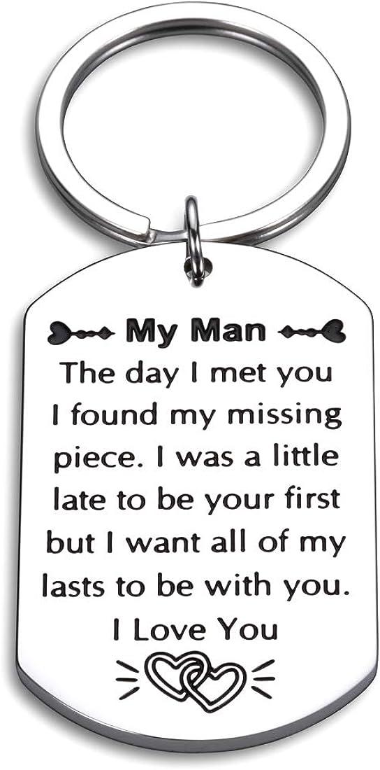 Husband Keychain Anniversary for Husband Boyfriend from Wife Girlfriend to My Man Wedding Birthday Christmas Valentines Present for Men Him Fiance