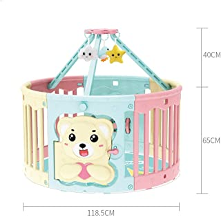 Hfyg Playpens Child Playpens Baby Safety Fence Guard Bar Indoor Baby Guardrail Come with Fitted Floor Mat Easy Install pens