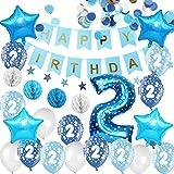 Happyhours Décoration de fête 2 ans pour anniversaire d'enfant avec guirlandes, ballons en latex et aluminium, confettis et boules de papier alvéolées