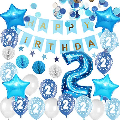 Happyhours 2 Jahre Geburtstagsdeko Jungen Blau Kindergurtstag Deko, Happy Birthday Girlande 2 Jahre Helium Ballons Blau Konfetti, Folienballon Zahl 2, Wabenbälle Geburtstag Deko Set