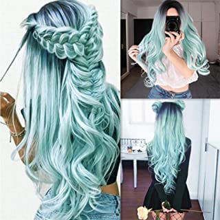 XILALU Fashion Synthetic Long Wavy Gradient Dyeing Natural Hair Full Wigs Cospaly Party Green Pink Wigs For Women