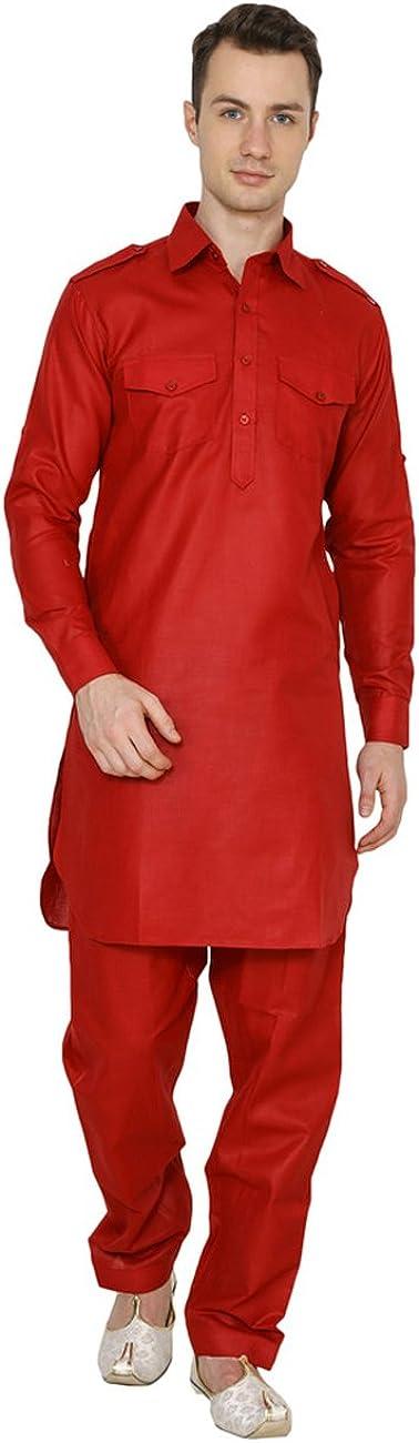 Royal Kurta Men's Linen Pathani Suit