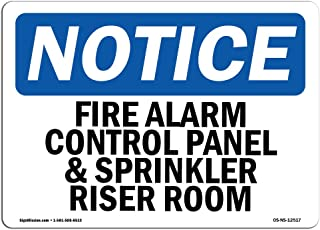 OSHA Notice Signs - Fire Alarm Control Panel and Sprinkler Sign | Extremely Durable Made in The USA Signs or Heavy Duty Vinyl Label | Protect Your Construction Site, Warehouse & Business