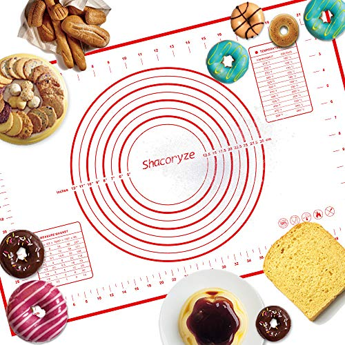 Shacoryze Silicone Pastry Mat with Measurements, Non-Stick Baking Mat, Non-Slip Rolling Dough Mat for Pizza, Pie, Pastries, Pasta, Fondant and Cookies 24'x 16'