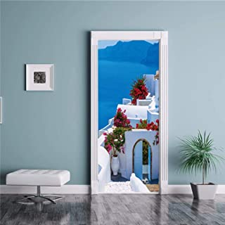 Claresnce DIY Home Decoration Glass Stickers Window Film,3D Bamboo Forest Door Sticker PVC Self Adhesive Door Wallpaper for Living Room Bedroom DIY Home Decor Waterproof Poster (15