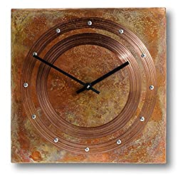 12-inch Copper Wall Clock - Rustic Farmhouse Art Decor 7th Anniversary Gift - for Home Kitchen Living Room