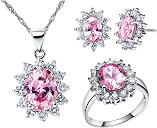 Women Jewelry Necklace Earrings and Ring Set with Cubic Zirconia Crystals T466