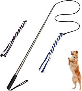 POPETPOP Dog Outdoor Toy Extendable Teaser Wand Outside Interactive Fun Toys with 2 Rope Chew Play Toys for Training Exercise (Size L)