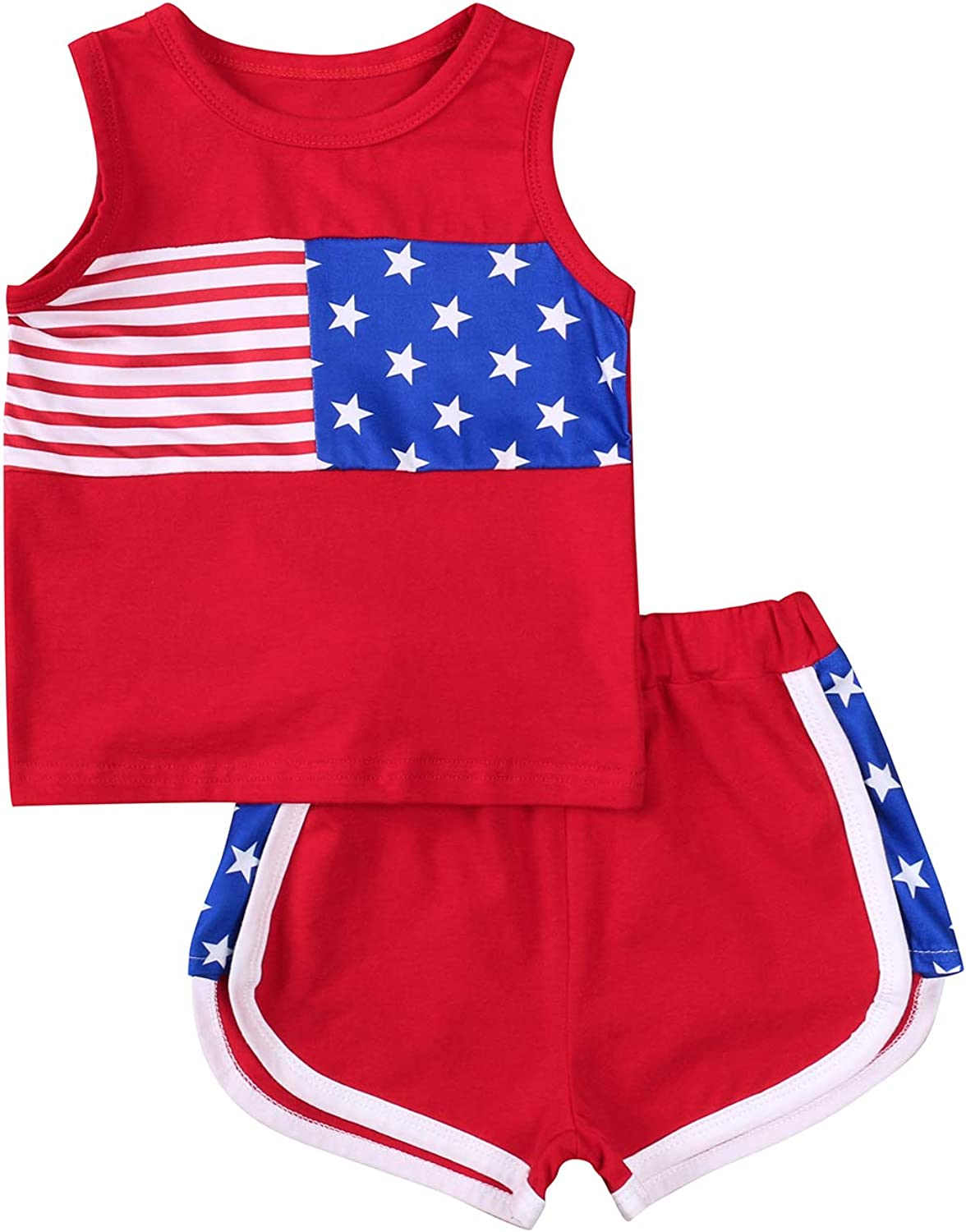 2Pcs Toddler Baby Boys USA Flag Print Sleeveless Vest Tops+Short Summer Outfits Set Independence Day