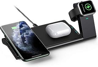 AGPTEK 3 En 1 Cargador Inalámbrico Rápido, Estación de Carga Rápida Qi Inalámbrica Soportes para iPhone SE 12 Pro/12 Pro M...