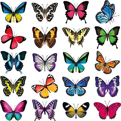 Etiquetas engomadas de la ventana de la mariposa, etiquetas engomadas de la ventana de la mariposa anti-colisión que se adhiere a las ventanas calcomanías película de vidriera reutilizable