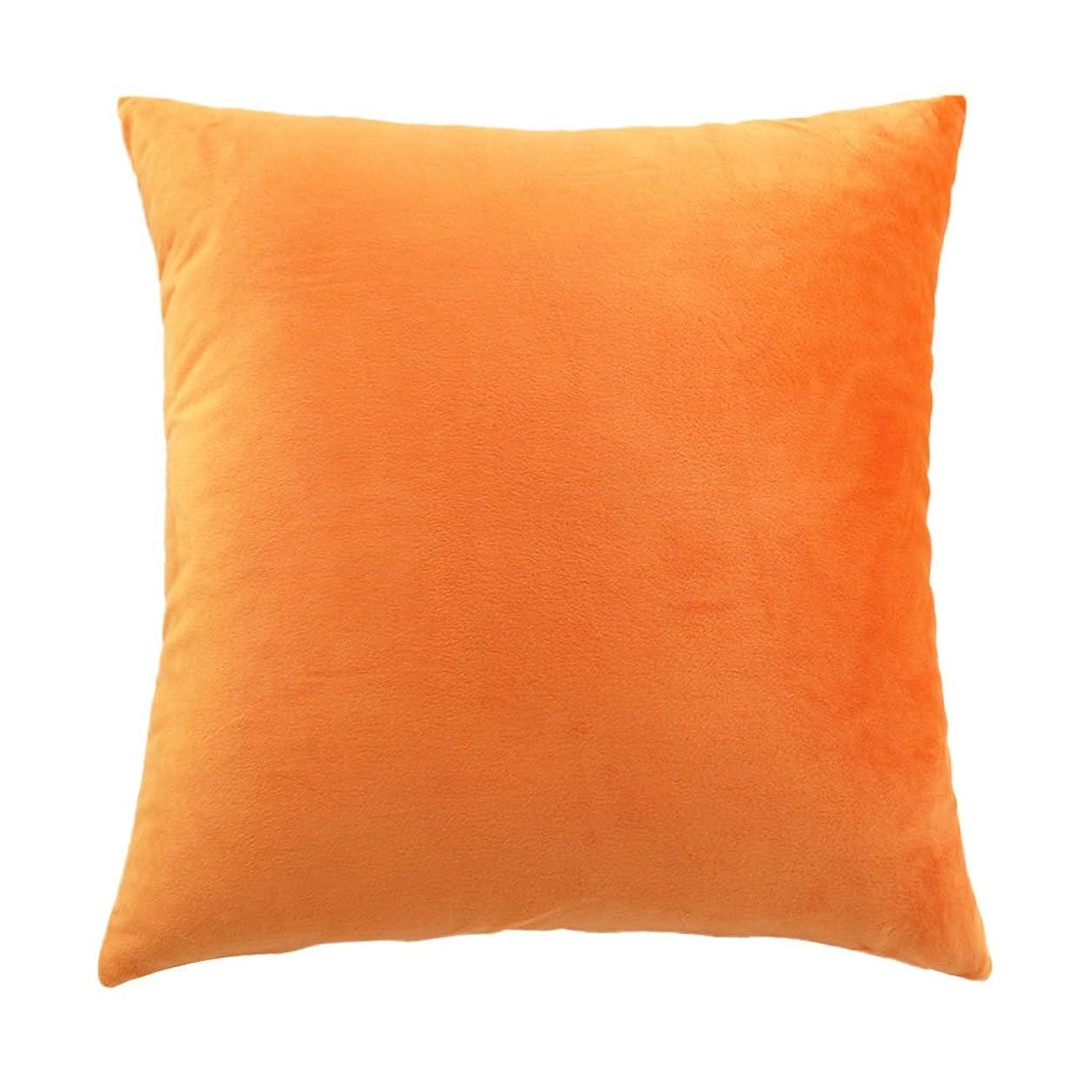 トン種類信仰45x45cm 柔らかい ベルベット 枕カバー クッション ケース ソファ 車 装飾 11色選べる - オレンジ