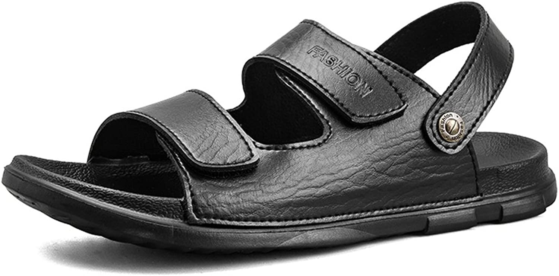 Herren Sandalen PU-Leder Strand Hausschuhe Frauen Frauen Frauen Casual rutschfeste weiche flache Sandalen Liebhaber Schuhe einstellbar Backless (Farbe   Schwarz, Größe   9.5MUS) 8a2ed6