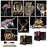 Arte de arañazos para niños adultos, arco iris grabado Paisaje Paisaje Scratchboard (A4) Set de artesanías: 8 hojas Tarjetas de rasguño con 4 herramientas - Unicornio / Flamingo / Cat / Ciervo / Lion