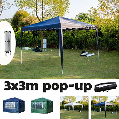 AutoBaBa 3x3M POP UP Garden Gazebo Marquee Party Tent Canopy with Carry Bag Ideal for Wedding Outdoor Camping BBQ without/with Side Panels, PVC coated, Fully Waterproof (Blue, w/o Side Panels)