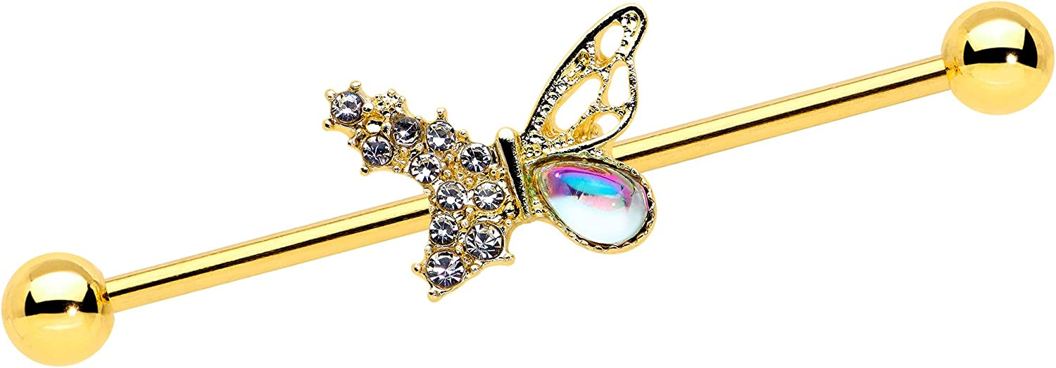 Body Candy Womens 14G Plated Steel Helix Cartilage Earring Clear Glam Butterfly Industrial Barbell 1 1/2