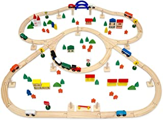 comprar comparacion EYEPOWER Tren de Madera + Ferrocarril + Accesorios   5m de vía férrea   130 Piezas   Extensible Ampliable combinable Juego...