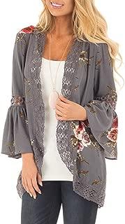 ZOMUSA Women Lace Floral Open Cape Casual Coat Loose Blouse Kimono Jacket Cardigan