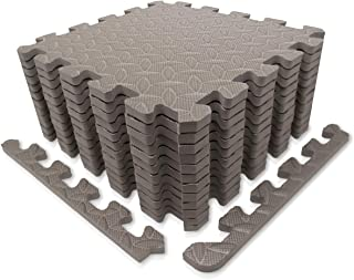 9HORN Exercise Mat/Protective Flooring Mats with EVA Foam Interlocking Tiles and Edge Pieces Suitable for Gym Equipment, Yoga, Surface Protection
