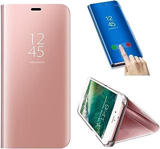 SevenPanda Caja del Teléfono Móvil Metal para Huawei P10 Lite, Huawei P10 Lite Case Mirror Funda, Flip Stand Luxury Mirror Funda Transparente del Teléfono Móvil Caja - Rosado