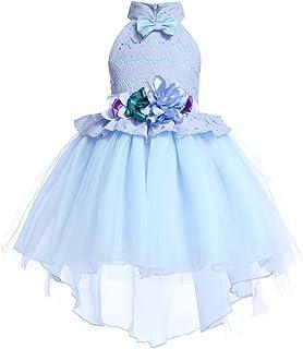 GFDGG 女の子のレースのドレスフラワーガールドレススカート子供弓タキシードドレスプリンセスドレス (色 : 青, サイズ : 150#)