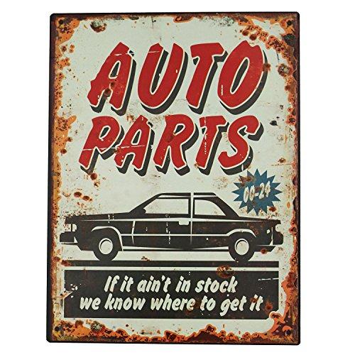 Blechschild Metallschild Auto Parts Vintage Wandschild Werkstatt Dekoschild Garage Verkaufsschild 30x15 cm