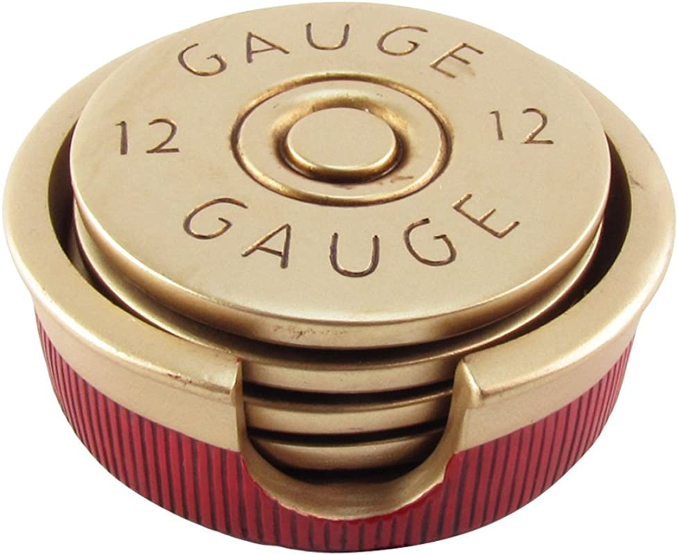 12 Gauge Shotgun Shell Coaster Set 4 Bullet Shaped Coasters