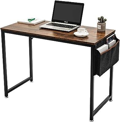 "ARCCI Home Office Desk Computer Desk w/Storage Bag and Hook, 39"" Vintage Brown Simple Writing & Working Desk, Modern Laptop Table Sturdy Gaming Desk"