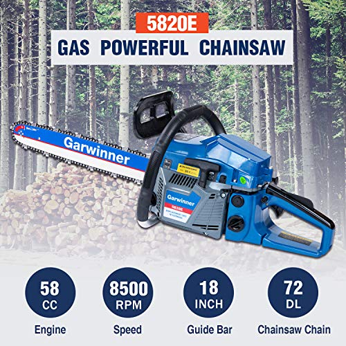 58cc Gas Chainsaws 18 Inch Bar Power Chain Saws, Gas Powered Chainsaw 2 Stroke Handed Petrol Gasoline Chain Saw for Cutting Wood Outdoor Garden Farm Home Use with Tool Kit 5820E
