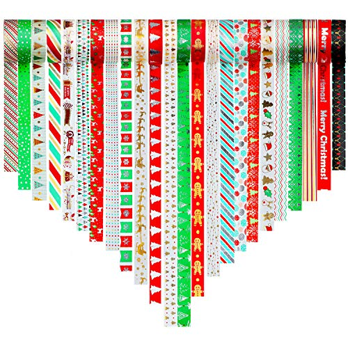24 Rolls Christmas Washi Tape 15 mm Wide Christmas Decorative Tape DIY Masking Tape for DIY Christmas Craft Projects Wrapping Supplies