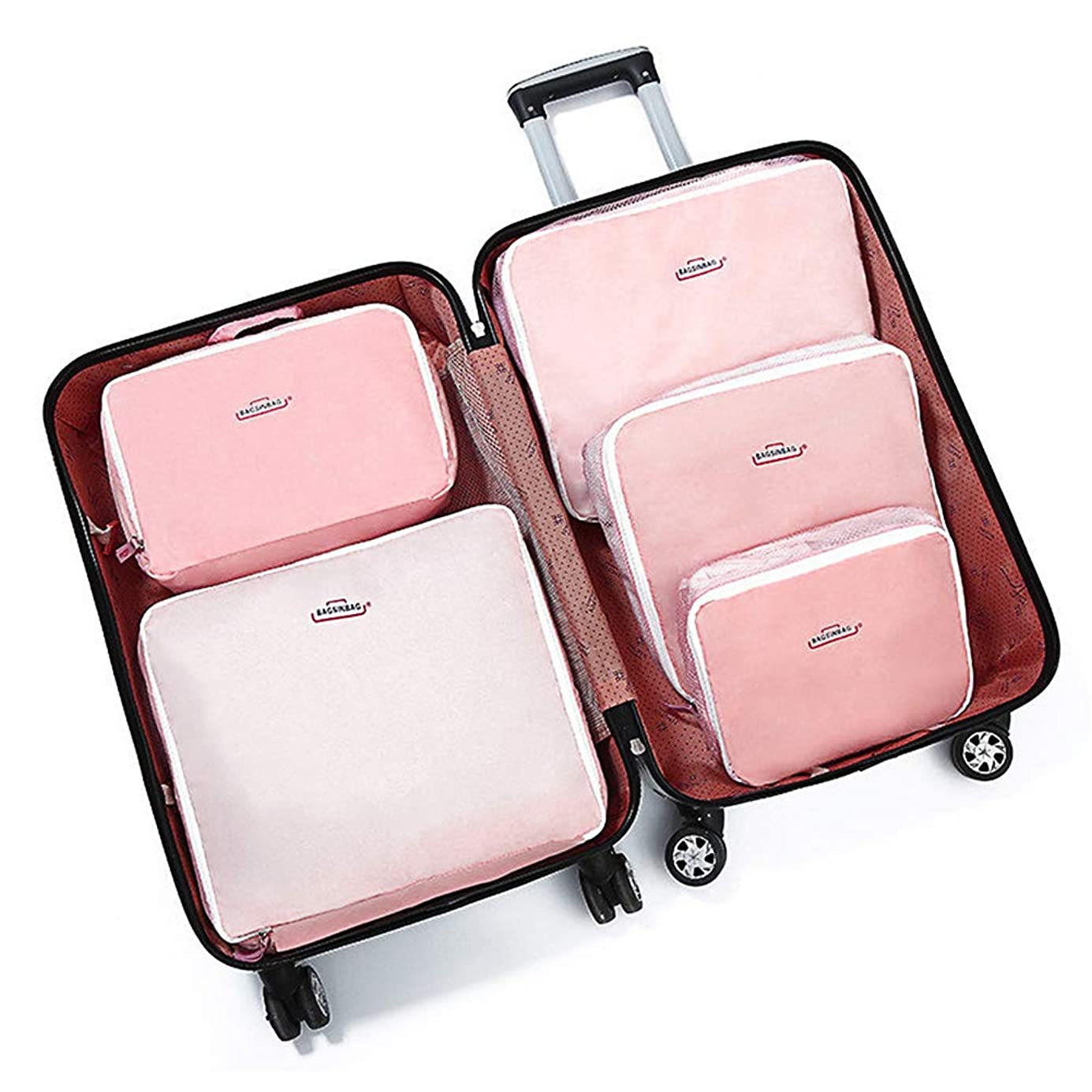 一杯四面体払い戻しACHICOO 親子 バッグ 5Pcs /セット 多機能 ポータブル 収納袋 携帯用 お得 人気 衣類 荷物 旅行 アウトドア キャンプ 夏 冬 ピンク