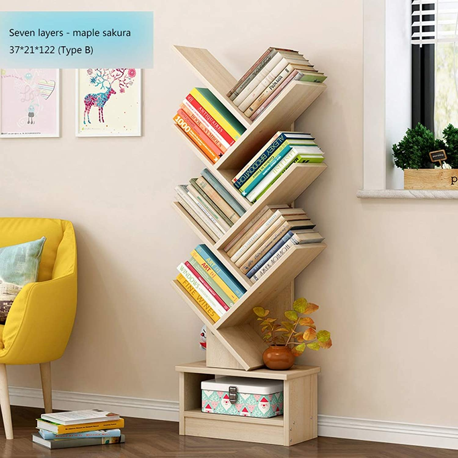 Bookcases Bookcase 7-Shelf with Open Cubes and Shelves Multi-Function Storage Shelves for Living Room Living Room 37  21  122cm (color   C)