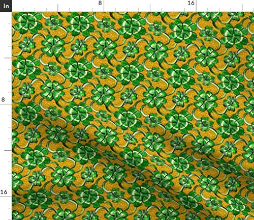 Spoonflower Fabric - Leaf Clover Shamrock Lucky Patricks Day Irish Printed on Fleece Fabric by The Yard - Sewing Blankets Loungewear and No-Sew Projects