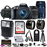 Canon EOS Rebel T5i w/ EF-S 18-55mm & 75-300mm Lenses with 32GB Accessory Bundle