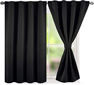 TEXPLUS Set of 2 Thermal Noise Insulated Rod Pocket and Back Tab Blackout Curtain Panels for Bedroom (Black, 2x52 Wx45 L)