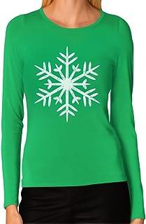 Tstars - Big White Snowflakes Christmas Gift Xmas Women Long Sleeve T-Shirt