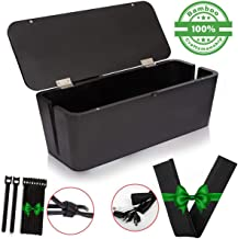 Bamboo Cable Management Box & Cord Organizer- Cable Organizer for Desk, Home, Office. Hides Wires, Surge Protectors, Power Strips. Eco Friendly Cord Management Solution (Midnight Black)