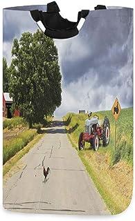 ZOMOY Grand Organiser Paniers pour Vêtements Stockage,Ferme sur la Route de Campagne avec Grange et Tracteur côté Photo or...