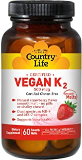 Country Life Vegan Vitamin K2, 500 mcg, Dual Spectrum MK-4 and MK-7 Complex, Supports Bone & Teeth Health, 60 Chewable Tab...