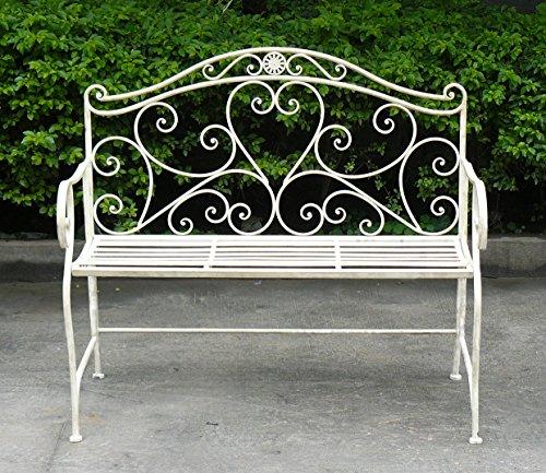 Euronovità EN-222258 Panchina Arredo Giardino in ferro battuto,colore Panna . H 94 X 104 X 52 Cm