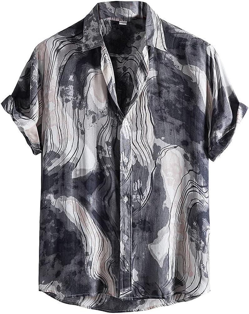 Men's Printed Shirts Short Sleeve Summer Button Down Hawaiian Shirt Casual Relaxed-Fit Beach Party Tops