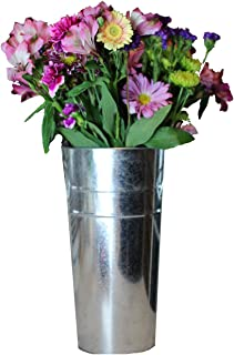 Galvanized French Tin Bucket for Indoor and Outdoor Fresh or Silk Flower Arrangements 13 Inches