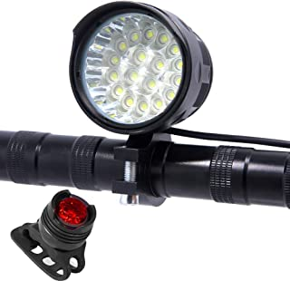 7200 Lumens 18T6 Led Rechargeable Bike Light Set, Powerful Bicycle Headlight Front Light,Waterproof, 6x2200mAh Battery Pack - Free Taillight