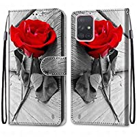 Laybomo Samsung Galaxy A71 5G ケース カバー 手帳型, [カードスロット]および[キックスタンド]付きの磁気閉鎖完全保護設計ウォレットフリップ 財布型カバー対応 Galaxy A71 5G電話ケース, 塗る 4