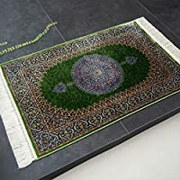 144万ノット メダリオン 高密度 モダール 高級 玄関マット 70x120 グリーン ウィルトン織