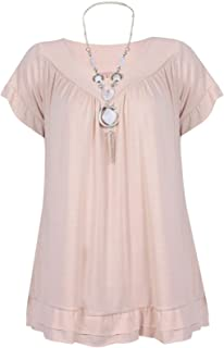 Momo&Ayat Fashions Ladies Short Sleeve Lightweight Frill Necklace Gypsy Tunic Top Size 12-30