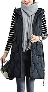 Yimoon Women's Winter Mid-Long Hooded Quilted Padded Vest