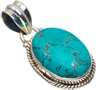Natural Turquoise Handmade Unique 925 Sterling Silver Pendant 1.25