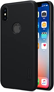 Iphone X 10 logo Nillkin Super Frosted Shield case cover with screen protection film - Black